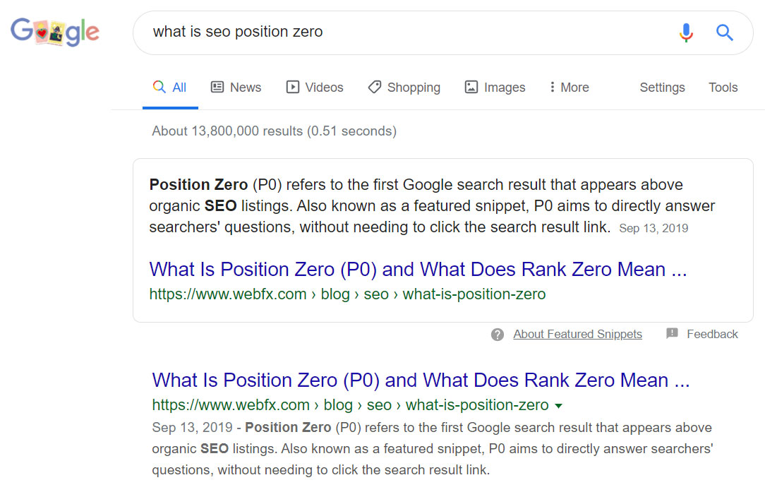 position zero search engine result page